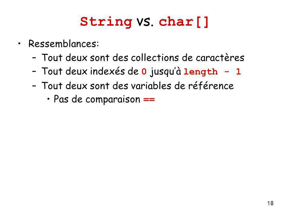 String vs. char[] Ressemblances: